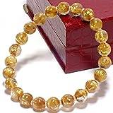 希少5A級天然石ゴールドキャッツアイ タイチンルチルクォーツ(黄金色)8~8.4mm珠パワーストーンブレスレット