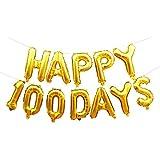 Blesiya アルミ箔 風船 100日間 結婚記念日 ベビー誕生日 パーティー デコレーション 全2色 - ゴールド