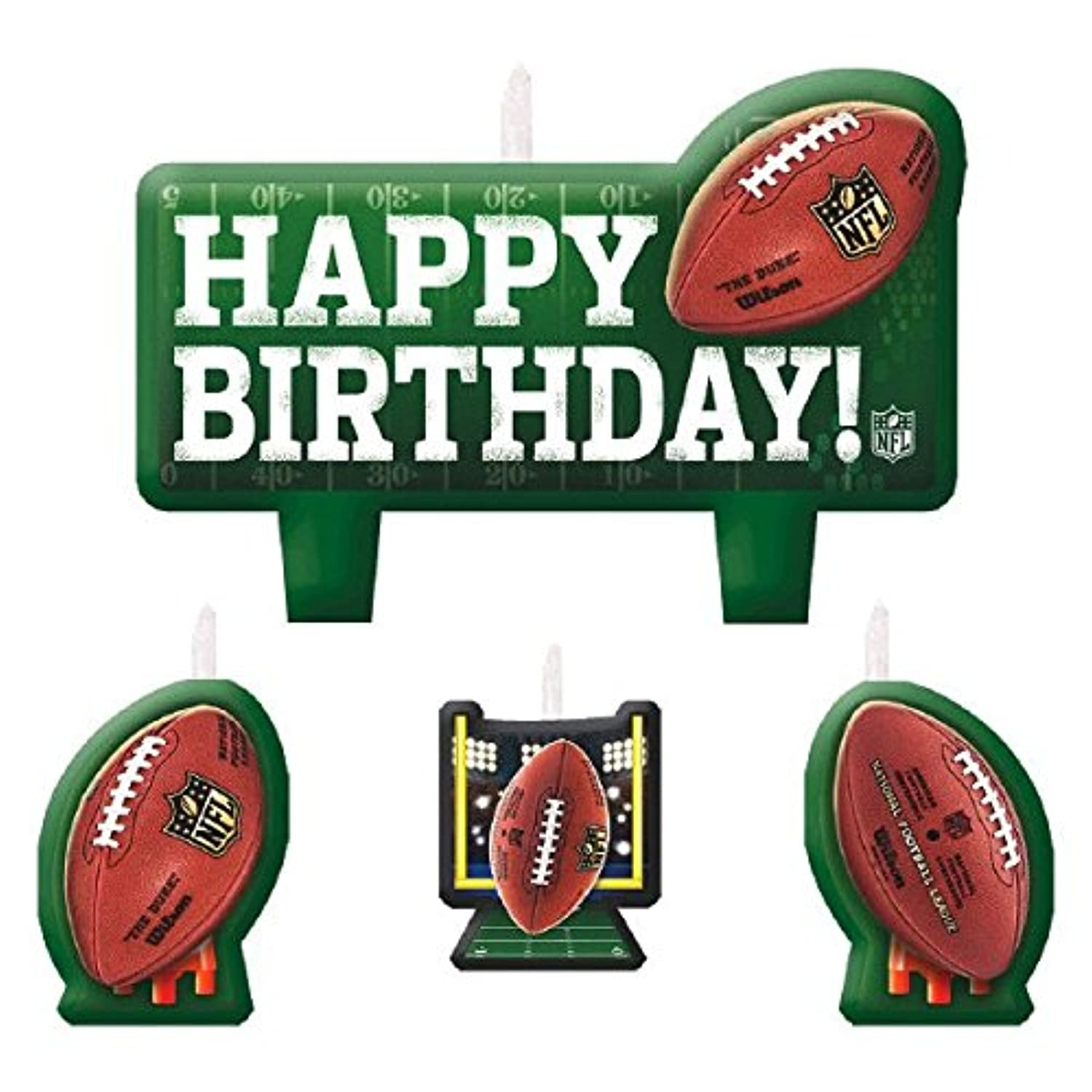 Nfl Drive Birthday Party Molded Birthday Candle Set, 4 Pieces, Made From Wax,