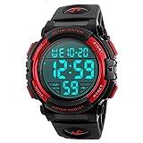Timever(タイムエバー)デジタル腕時計 メンズ 防水腕時計 led watch スポーツウォッチ アラーム ストップウォッチ機能付き 50M防水時計 文字が大きくて見やすい (レッド)