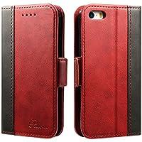 iphone se ケース 手帳型 iphone5s ケース Rssviss カード入れ 横置きスタンド機能 高級PUレザー W3 レッド(iPhone5/5s/se対応)