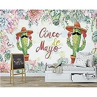 Wuyyii カスタム壁紙北欧の手描きの多肉植物子供部屋の背景の壁家具の装飾3Dの壁紙 - 120×100Cm