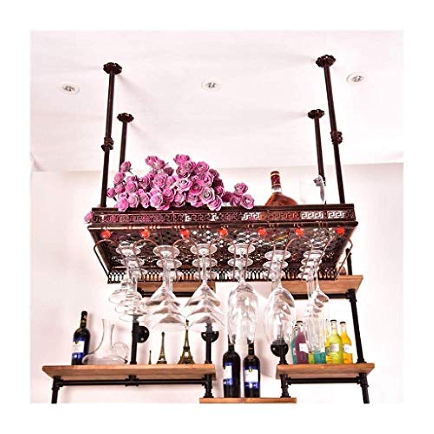 追い越すベルパートナーラインストーン付きワインボトルホルダー、KTVクリエイティブ天井カップ/ワイングラス/ゴブレットホルダースタンドラックメタルスチール収納棚(カラー:ブロンズ、サイズ:L60 * W35cm)