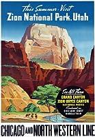 "t81ヴィンテージアメリカザイオン国立公園ユタ州Grand Canyon鉄道旅行ポスターre-print–2異なるサイズを選択a3/ a2+ A4 (297 x 210mm) 11.7"" x 8.3"" t81A4"