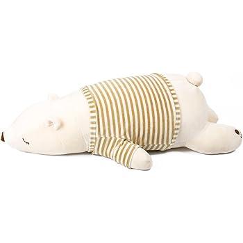 IKASA とろけるような肌触り プレミアム ぬいぐるみ くま 抱き枕 Lサイズ ホワイト 76x33x23cm