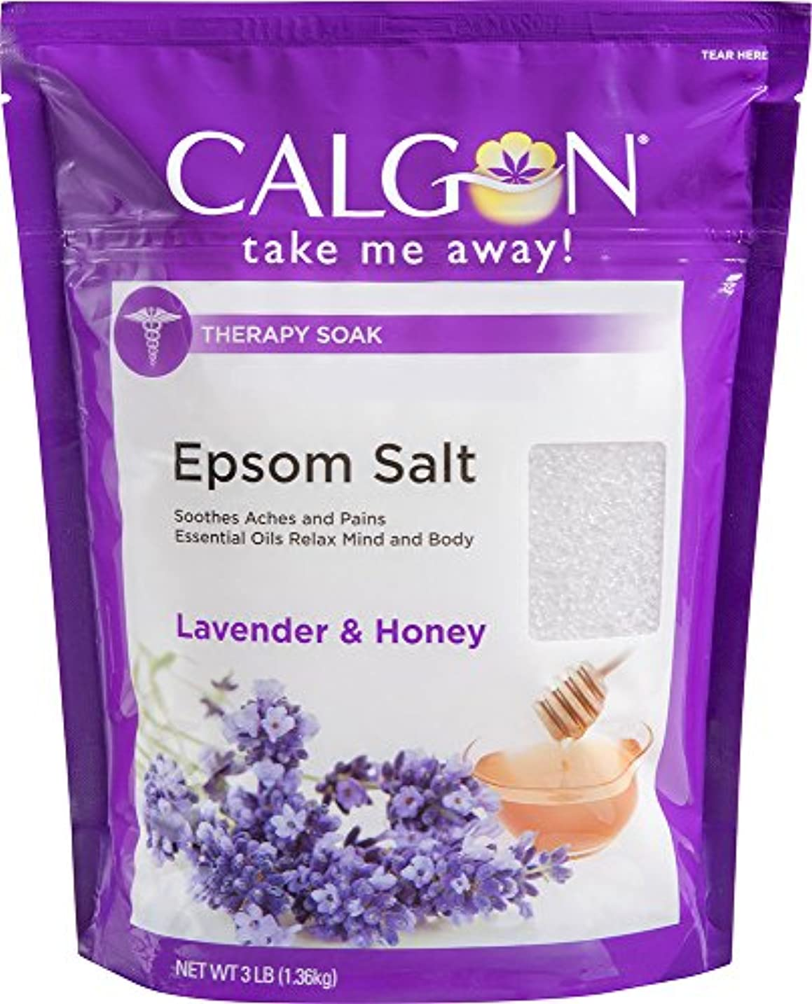 うんざりスポット優れましたCalgon リジュエプソム塩(ラベンダーと蜂蜜、48オンス)
