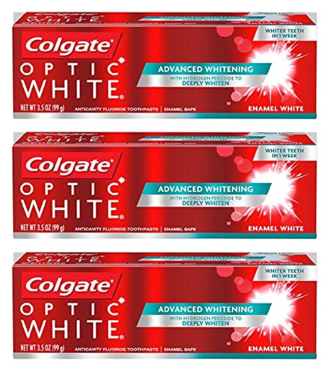 主婦一麺Colgate オプティックホワイト虫歯予防フッ素の歯磨き粉、エナメルホワイト、ルミナスミント3.5オンス(3パック) 3パック