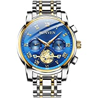 Causual Mens Watches Waterproof Quartz - Business Wristwatch Stainless Steel Sapphire Face Multi-Function Displays Luminous Hands 2019 (Blue)