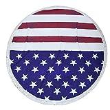 A-SZCXTOP ビーチマット フリンジ付 砂浜 海辺 ピクニック マット テーブルクロス ラウンド 装飾用タペストリー 手作り 星条旗柄 アメリカ