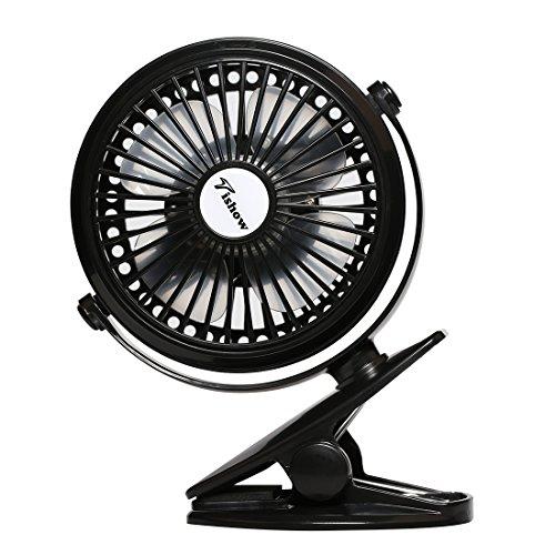 TISHOW 扇風機 卓上 USBファン 小型 クリップ型 静音 ミニ扇風機 USB / 電池式 風量3段階調節 360度角度調整 4枚羽根 強力 ( ブラック) -602
