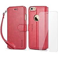 iPhone 6s ケース / iPhone 6 ケース 【TUCCH】 PUレザー 手帳型 ケース「強化ガラスフィルム付き」カードポケット ストラップ スタンド機能付き マグネット式 アイフォン6s / 6 用 財布型 カバー レッド