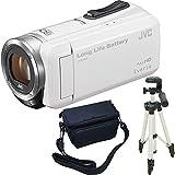 JVC KENWOOD Everio HDビデオカメラ GZ-F100-W ホワイト 内蔵メモリー32GB 3点セット ( 本体 + 三脚 + カメラバッグ )