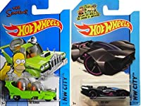 Hot Wheels Tooned Homer Simpson & Rev Rod Cars IN PROTECTIVE CASES