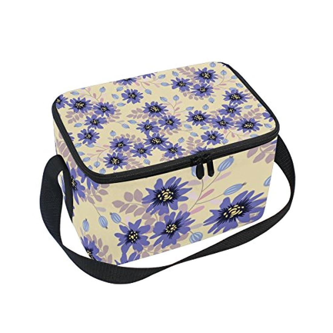 通常ワイヤー審判クーラーバッグ クーラーボックス ソフトクーラ 冷蔵ボックス キャンプ用品  紫花柄 薄い黄色背景 保冷保温 大容量 肩掛け お花見 アウトドア