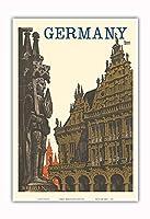 ドイツ - ブレーメン、ローランド・スタチュー、タウンホール - ビンテージな世界旅行のポスター によって作成された フリーデル・デュバス c.1930s - アートポスター - 33cm x 48cm