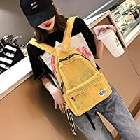 ZHANGYOUDE 2 in 1 Fashion Mesh Multi-Function Double-Shoulder Bag Casual Shool Backpack Bag (Black) (Color : Yellow)