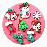 Weiyクリスマステーマシリコンケーキ金型3Dエルクスノーマンスノーフレーク形状シリコンフォンダン金型ビスケットチョコレートアイスケーキベーキング金型ケーキ装飾ツール