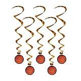 Beistle バスケットボール 吊り渦巻き (5個) - 1パック マルチカラー