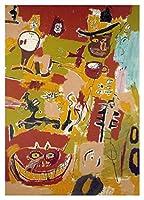 ワイン・オブ・バビロン Jean-Michel Basquiat - 80X120 cm グラフィティアート 油彩 手作り 絵画 キャンバス 木枠なし 複製画 部屋 壁掛けWine Of Babylon 1984