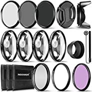 Neewer® 72MM Complete Lens Filter Accessory Kit for Lenses with 72MM Filter Size: UV CPL FLD Filter Set + Macr