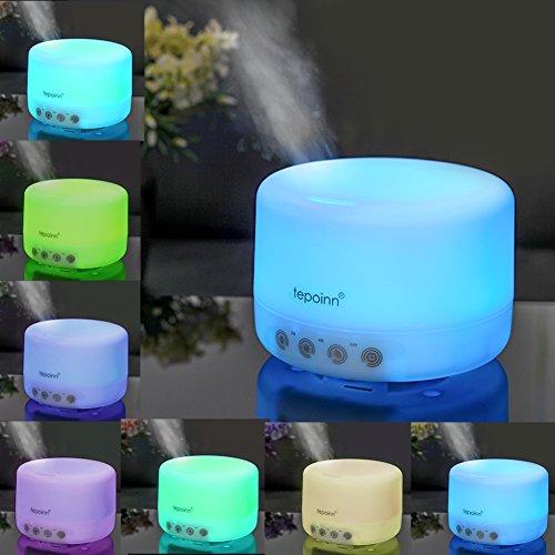 (テポインー)Tepoinn アロマディフューザー 超音波式 七色変換LED付き 自動停止機能付き 加湿器 (500ML)