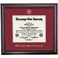 ミシシッピ州ブルドッグ卒業証書フレームMaroonグレーエンボスマットシール