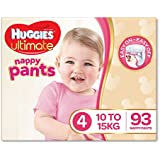 Huggies Ultimate Nappy Pants, Girls, Size 4 (10-15kg), 93 Count