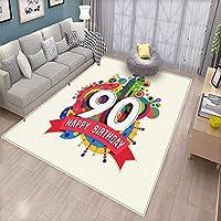 90歳の誕生日 ドアマット 内側 ファンキーポップスタイル 幾何学的 楽しいお祝い キュート カラフル グリーティングテーマ バスマット 浴槽 バスルームマット マルチカラー 5'x6' (W150cm x L180cm)