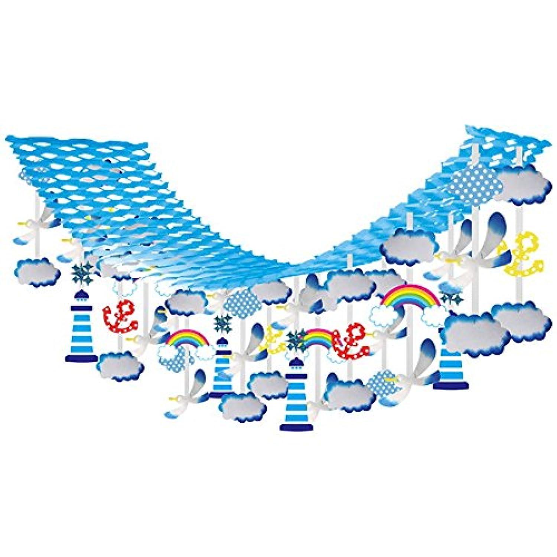 夏のマリンブルー装飾 かもめマリンサマーハンガー L180cm/ディスプレイ 装飾 飾り 22351
