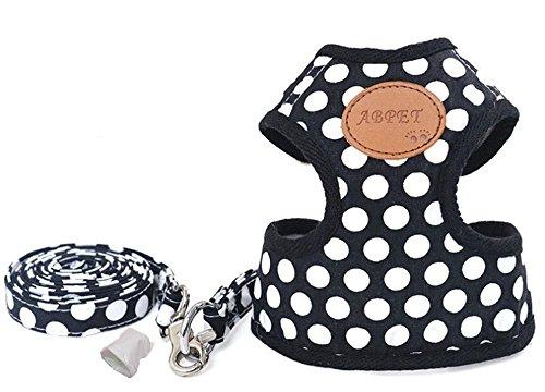Rant Bell 小型犬 ハーネス リード セット ドット柄 肉球 水玉 模様 (2 黒 M)
