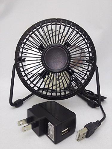 USB扇風機  ACアダプター付 卓上型 省エネ 4枚羽根 角度調整 ブラック TITAN