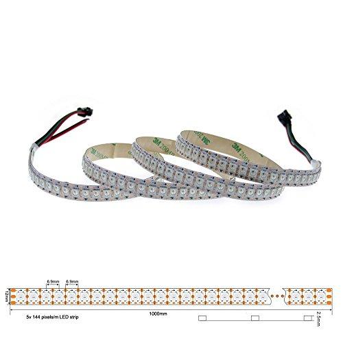 LEDイルミネーション LEDテープ WS2812B アドレス指定可能 LEDテープライト 5050 RGB SMD 1 m 144個ピクセル夢色 非防水 ホワイトPCB DC 5Ⅴ