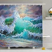 フック付きシャワーカーテンセット66x72 Wild Big Storm Impressionist View Magical Waves Ocean Artwork Abstract Miscellaneous on Watercolor防水ポリエステル生地バスルームのバスインテリア 180X180 CM