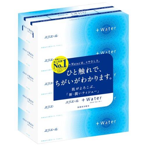 エリエール +Water(プラスウォーター) 180組360枚×5箱入り パ...