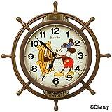 セイコークロック(Seiko Clock) 掛け時計 茶 本体サイズ:39.6×39.6×6.1cm ミッキーマウス 電波 アナログ 飾り振り子 FW583A