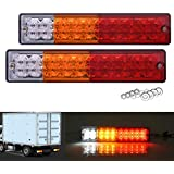 SS VISION 20 LED Trailer Tail Lights Bar, Waterproof DC 12V, Turn Signal Reverse Brake and Stop Indicator Lamp for Truck RV Camper, Red Amber White (2 Pack)