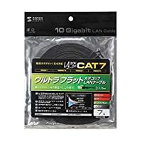10GBASE完全対応。 サンワサプライ CAT7ウルトラフラットLANケーブル(7m、ブラック) KB-FLU7-07BK 〈簡易梱包