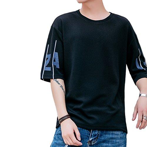 ONESMTM tシャツ メンズ 半袖 五分袖 クルーネック シンプル 通気性 ゆったり スポーツ シャツ 3色(黒、白、灰) M-3XL