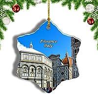 Weekinoイタリアジョットの鐘楼広場フィレンツェクリスマスオーナメントクリスマスツリーペンダントデコレーション旅行お土産コレクション陶器両面デザイン3インチ
