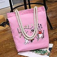 Student Tote Bag, Female Exorcism Canvas Shoulder Bag Simple File Shopping Handbag (Pink) Polykor