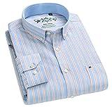 EASTEMPO シャツ メンズ 長袖 ストライプ 綿 ビジネス 春 秋 大きいサイズ (ブルー+キャメル, XL)