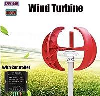 400 ワット 12 ボルト 5 ブレード風力発電電源垂直軸 レッドランタンエネルギー 充電器コントローラ