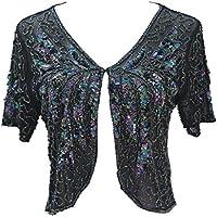 Alivila.Y Fashion Women's Boutique Beaded Mesh Shrug Bolero