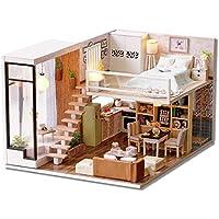 木製ドールハウスミニチュアキットDIYの女の子のギフト手動親子相互作用Warm and Quiet寝室