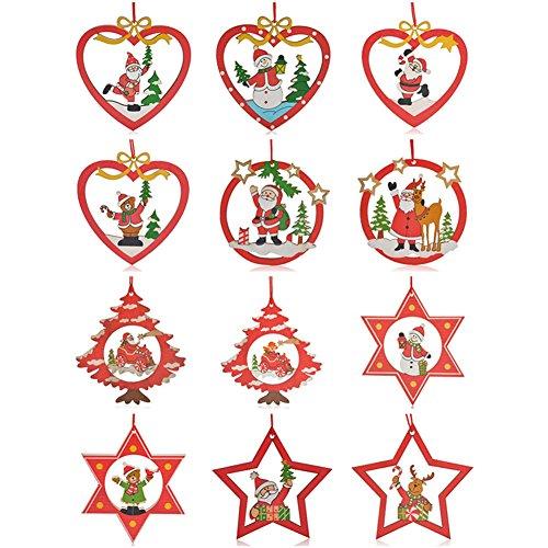 【貞恵】TEIKEI クリスマス 飾り 木製 糸付き 12種...