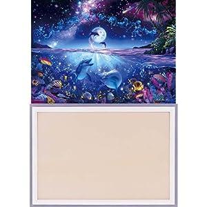 3000ピース 光るジグソーパズル 究極パズルの達人 ラッセン 星に願いを スモールピース(73x102cm)+木製パズルフレーム ウッディーパネルエクセレント シャインホワイト (73x102cm)