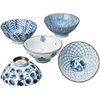 藍絵変り 茶碗 5個セット (化粧箱入) 31623