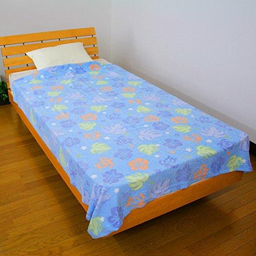 タオルケット ホヌ&モンステラ シングルサイズ 140×190cm 優しい色合いが上品な「おぼろプリント」仕上げ 215-134 (ブルー)
