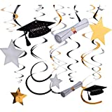 Maxdot 30 Pieces Graduation Decorations Graduation Hanging Swirls and Celebration Card for Graduate Party High School Graduation College Grad Decor [並行輸入品]