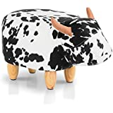 Artiss Kids Animal Stool Chair Cow Footstool Ottoman, Black and White